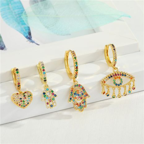 Fashion micro-inlaid love color zircon palm exquisite diamond-set eyes tassel small copper earrings NHGO245634's discount tags