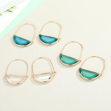 Boucles d'oreilles en verre coréen demi-cercle cristal ransparent en gros nihaojewelry NHGO245635's discount tags