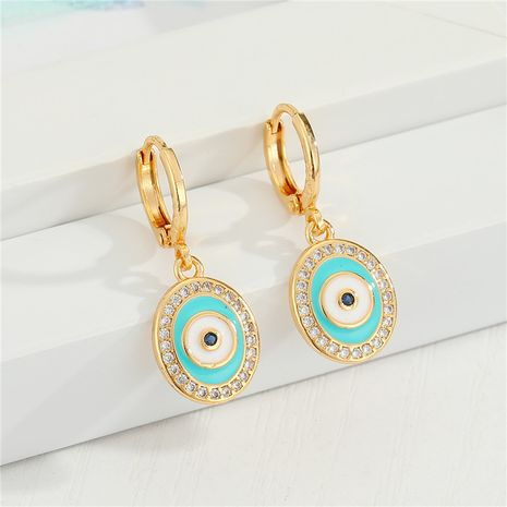 micro-inlaid key blue eyes zircon earrings diamond earrings wholesale nihaojewelry NHGO245638's discount tags
