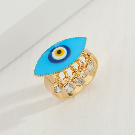 Turkish blue eye  dripping  tassel devil's eye ring wholesale  NHGO245640's discount tags