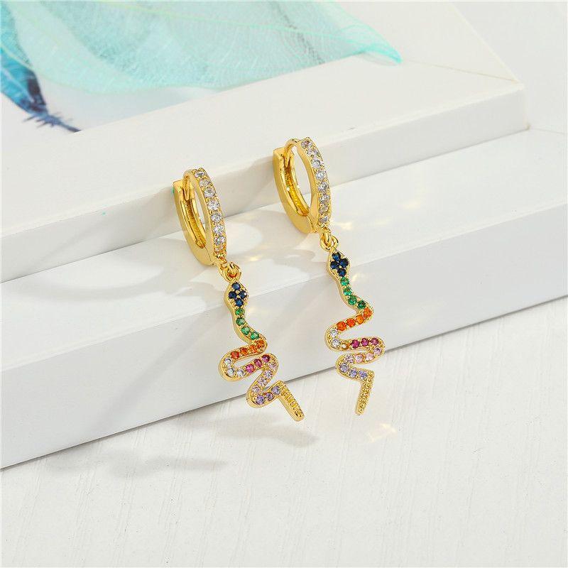 Fashion micro-inlaid cross color zircon snake exquisite diamond-set color zirconium sun small copper earrings NHGO245642