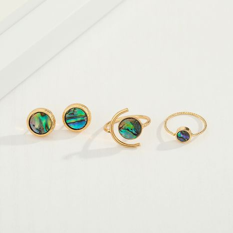 Korea fashion round abalone ring shell resin earrings for women wholesale NHGO245645's discount tags