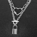 Fashion retro silver chain love lock alloy pendant necklace for women NHCT245659