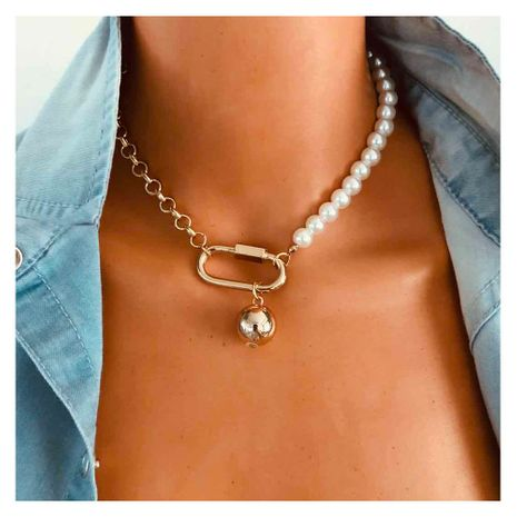 fashion oval plating alloy pearl beaded clavicle chain jewelry necklace for women NHCT245669's discount tags