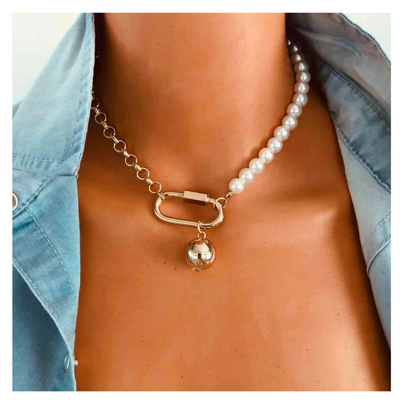 fashion oval plating alloy pearl beaded clavicle chain jewelry necklace for women NHCT245669