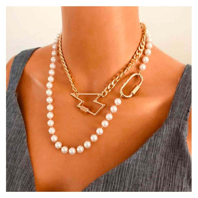 Fashion retro pearl clavicle chain alloy lightning pendant necklace for women NHCT245671