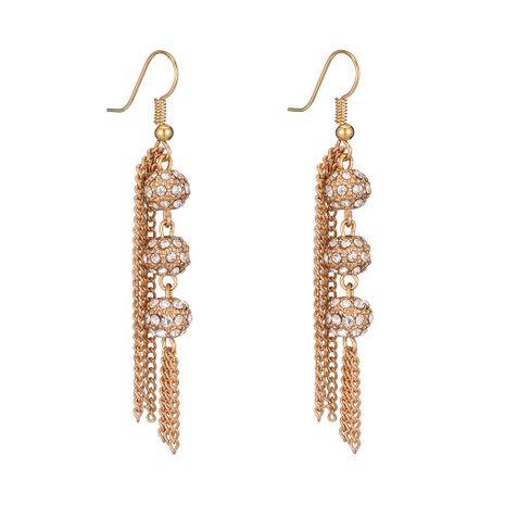 vente chaude nouveau alliage diamant perle ronde longues boucles d'oreilles pompon en gros nihaojewelry NHOA245695's discount tags