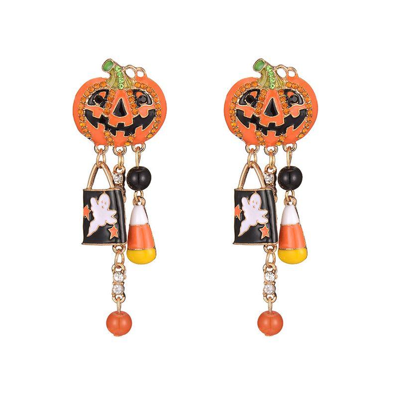 hot sale tassel alloy Halloween dripping exaggerated pumpkin earrings wholesale nihaojewelry NHOA245699