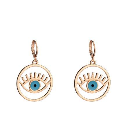 nouvelles boucles d'oreilles géométriques en alliage de fret huile dégoulinant de boucle d'oreille oeil du diable en gros nihaojewelry NHOA245701's discount tags