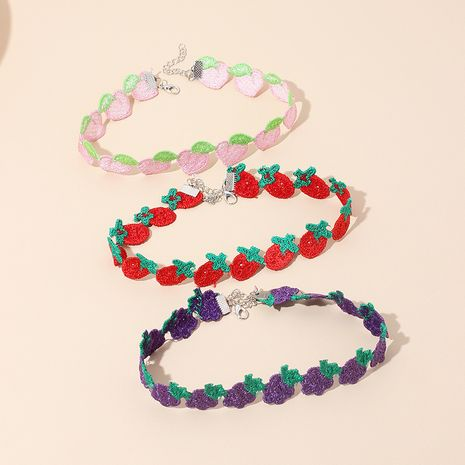childlike cute fruit polyester choker strawberry short wild clavicle chain  NHRN245704's discount tags