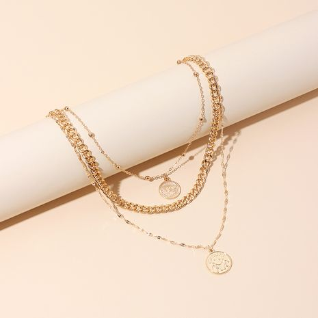 Fashion multi-layered wearing medal Devil's eye tag clavicle necklace for women NHRN245705's discount tags