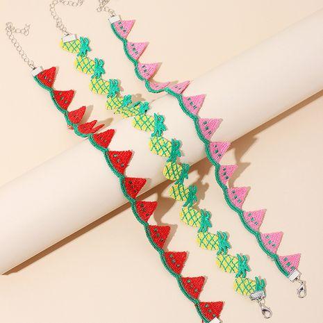 Corée doux fruits Polyester Style ethnique ananas tour de cou court collier de chaîne de clavicule sauvage NHRN245716's discount tags