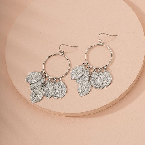 Fashion round leaf tassel exaggerated geometric circle hollow leaf earrings for women NHAI245760's discount tags