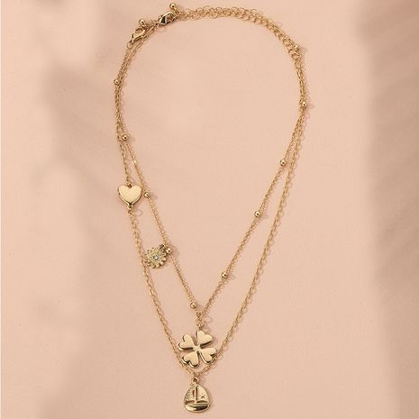 new metal texture four-leaf clover women simple multi-layer alloy pendant necklace sweater chain wholesale NHAI245769's discount tags