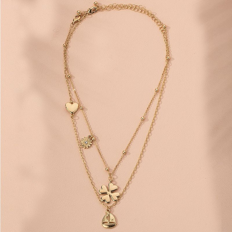 new metal texture four-leaf clover women simple multi-layer alloy pendant necklace sweater chain wholesale NHAI245769
