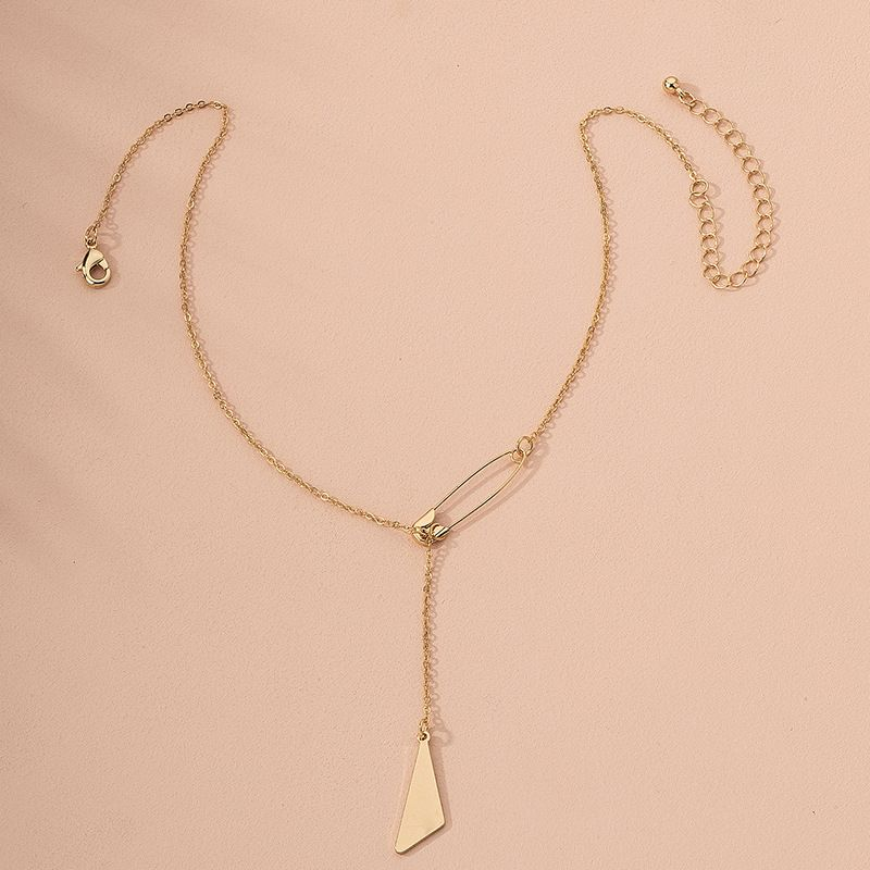 Fashion trendy brand hip-hop irregular geometric pattern alloy pendant necklace for women jewelry wholesale NHAI245771
