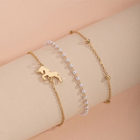 Korea's new rose gold pearl niche alloy bracelet for women jewelry NHAI245774's discount tags