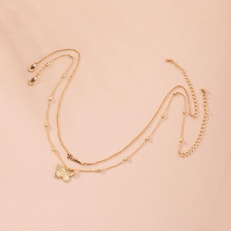 Korean fashion new simple letters butterfly clavicle chain necklace for women wholesale NHAI245778's discount tags