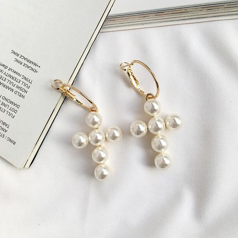 Wholesale fashion new wild Korean pearl cross pearl earrings for women NHAI245786's discount tags