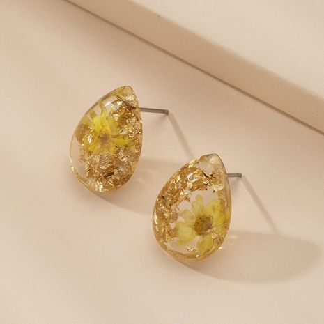 Korean small daisy chrysanthemum water droplets dried flower earrings for women NHAI245788's discount tags