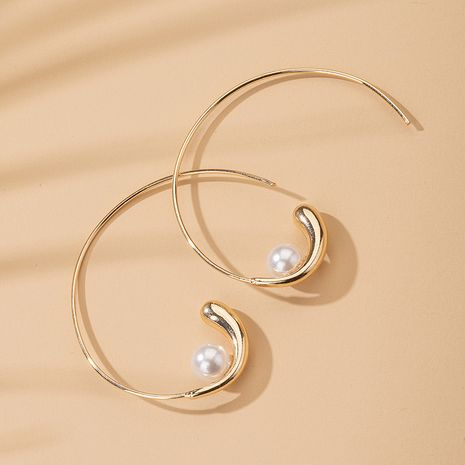 Korea curve pearl earrings wholesale nihaojewelry NHAI245794's discount tags