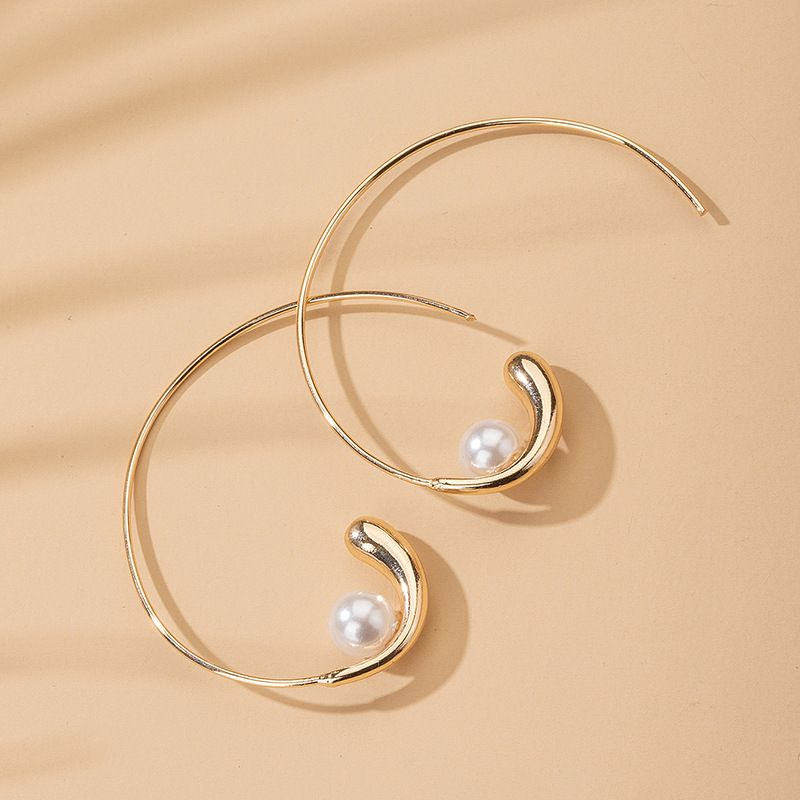 Korea curve pearl earrings wholesale nihaojewelry NHAI245794