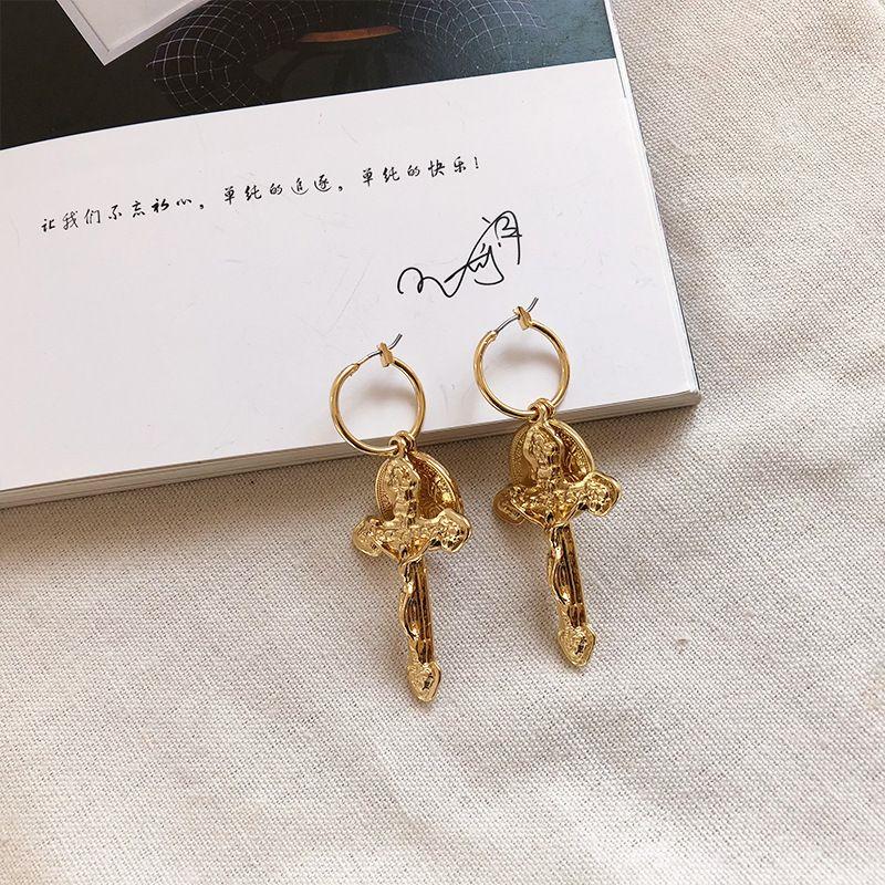 Fashion retro womens cross new punk gold coin alloy earrings NHAI245796