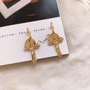 Fashion retro womens cross new punk gold coin alloy earrings NHAI245796