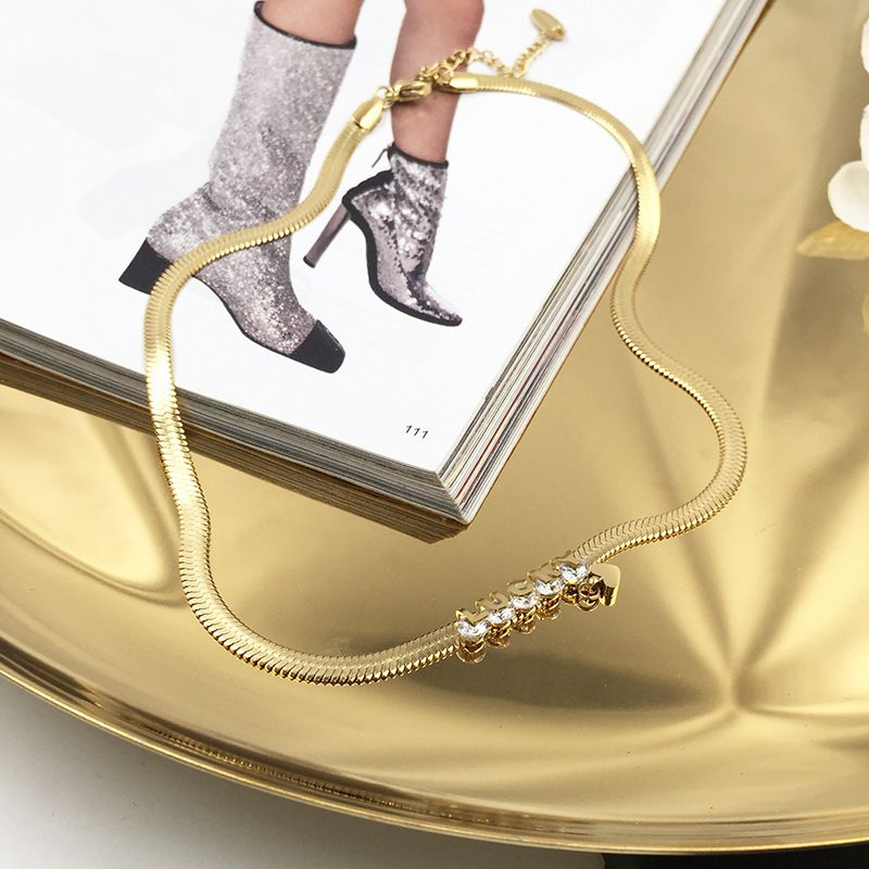 Golden snake bone titanium steel cool letter love thick chain clavicle necklace for women NHWK245852