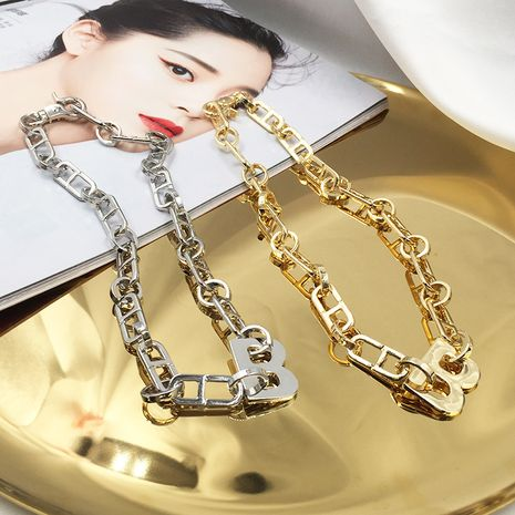 Fashion Golden letter B exaggerated hip hop style metal wind cool clavicle chain thick necklace NHWK245854's discount tags