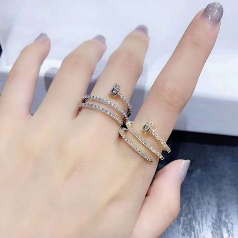Multi-layer nail ring opening creative trendy exaggerated opening index finger ring wholesale nihaojewelry NHWK245857's discount tags