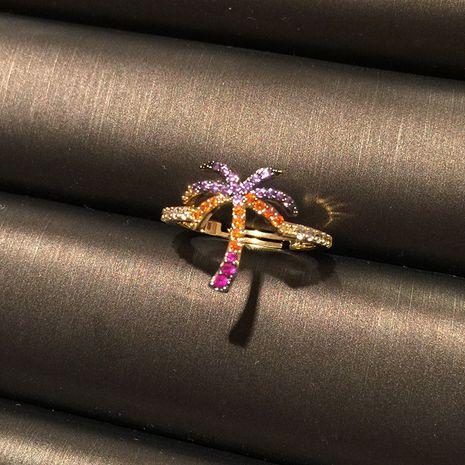Couleur cocotier réglable créatif incrusté de zircon feuille fleur bague en gros nihaojewelry NHWK245861's discount tags