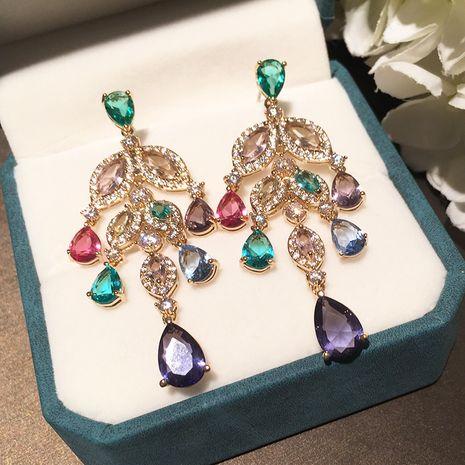 S925 argent aiguille exagérée boucles d'oreilles élégantes violettes en gros nihaojewelry NHWK245865's discount tags