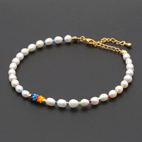 Moda verano playa pie decoración arco iris arroz perla tobillera tejida perlas naturales para mujeres NHGW245871's discount tags