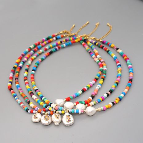 fashion natural pearl letters diamond pendant colorful rice bead clavicle chain NHGW245884's discount tags