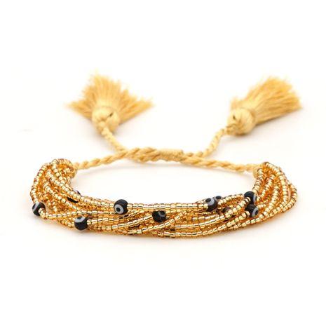 Moda retro salvaje estilo étnico borla cuentas de arroz ojos tejidos a mano pulsera de múltiples capas para mujeres NHGW245891's discount tags