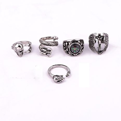 hot-selling jewelry retro punk hip hop skull compass dragon men's ring wholesale nihaojewelry NHGO245912's discount tags
