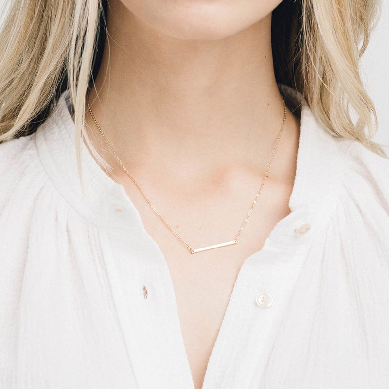 Korea's new word pendant short gold-plated clavicle chain simple 316L stainless steel pendant NHTF245934