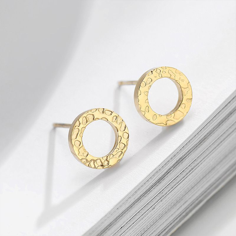 Fashion new simple 316L stainless steel geometric round earrings for women NHTF245949