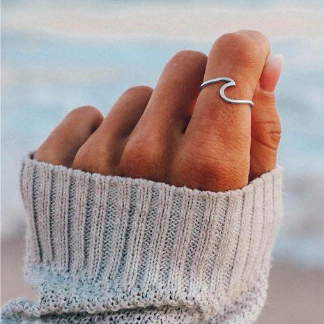 anillo de acero titanio 316L simple new wave para mujer al por mayor NHTF245950's discount tags
