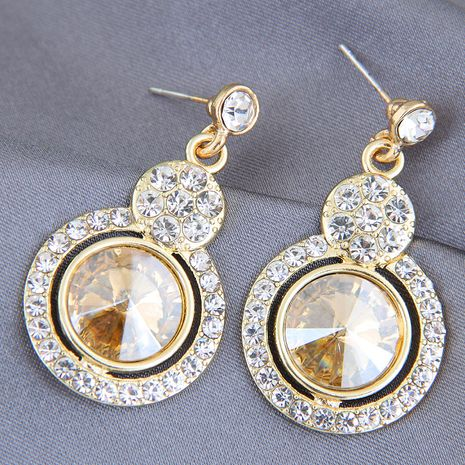 925 silver needle fashion metal shiny gemstone alloy earrings NHSC246003's discount tags