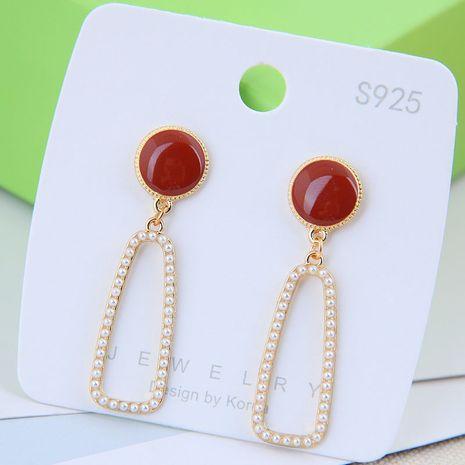 925 argent aiguille mode coréenne boucles d'oreilles en alliage de perles de forme géométrique douce NHSC246001's discount tags