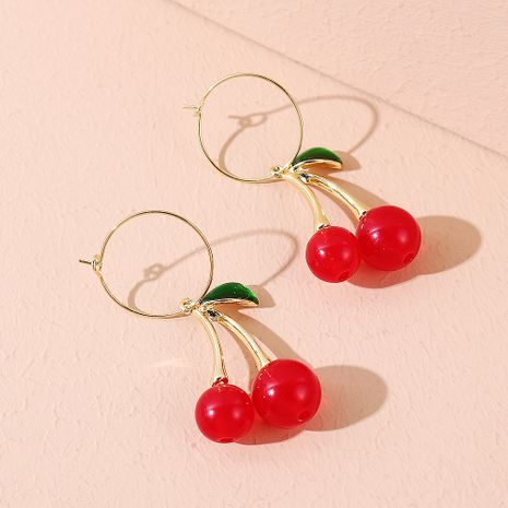 Korean fashion wild simple small fresh cherry earrings NHPS245961's discount tags
