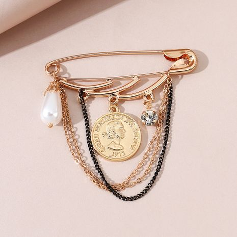 Fashion wild simple retro Roman head pearl brooch wholesale NHPS245982's discount tags