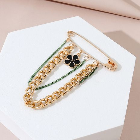 Korean fashion simple all-match small black flower brooch wholesale NHPS245984's discount tags