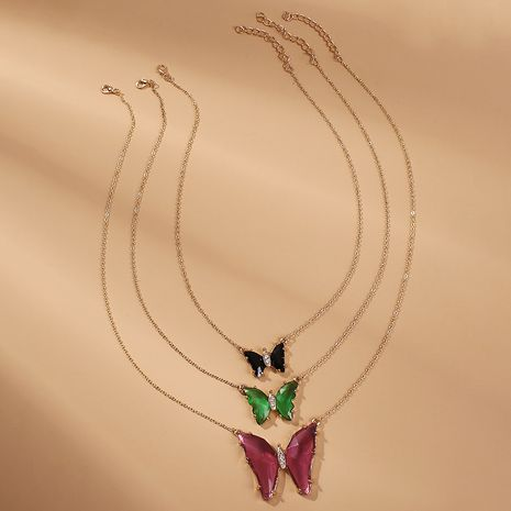 Fashion Multi-layer thin chain butterfly necklace for women wholesale NHMD245989's discount tags