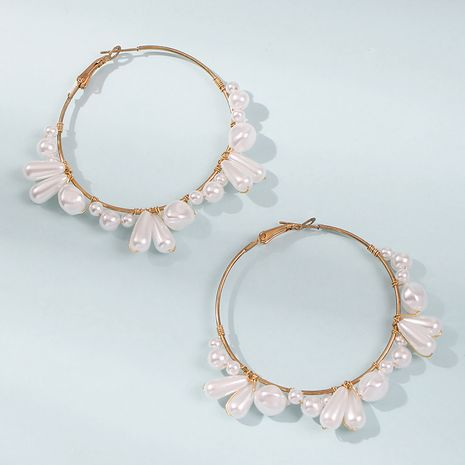 Fashion pearl circle simple wild women's earrings wholesale NHMD245988's discount tags