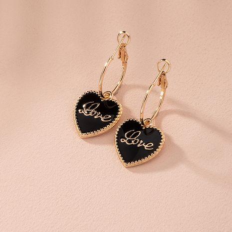 Boucles d'oreilles exquises simples noires en forme d'amour de la mode coréenne pour les femmes NHAI246131's discount tags