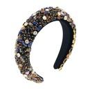 Baroque fourcolor glass rhinestone gold velvet sponge fashion bridal headband wholesale NHCO246154