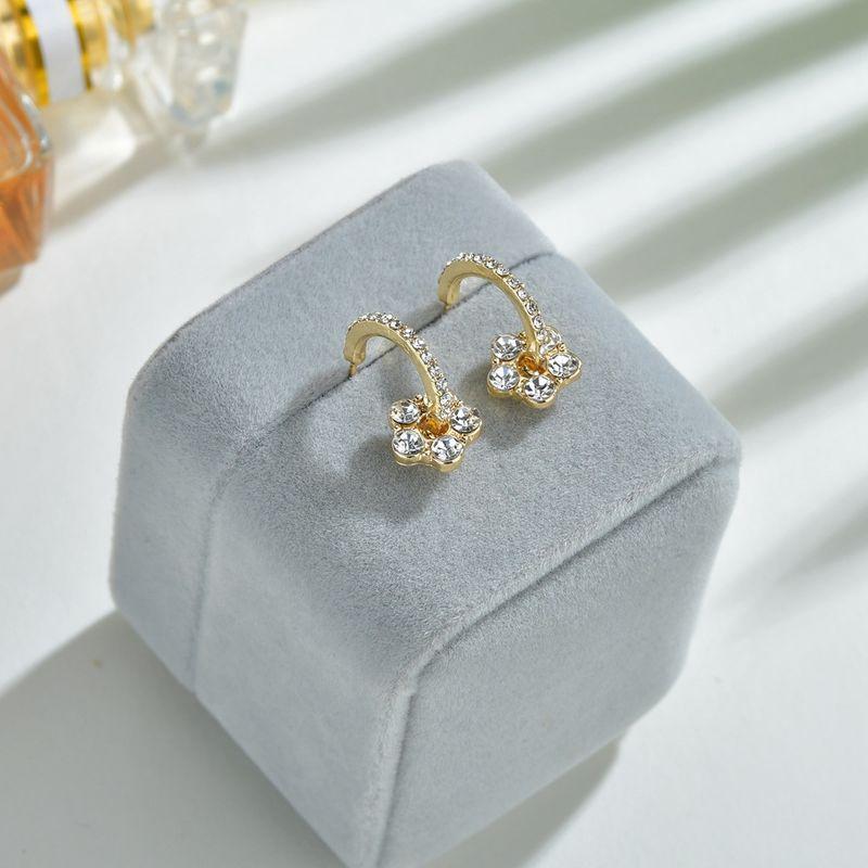 Korea flower s925 silver needle microinlaid zircon alloy wild small earrings NHBQ246160
